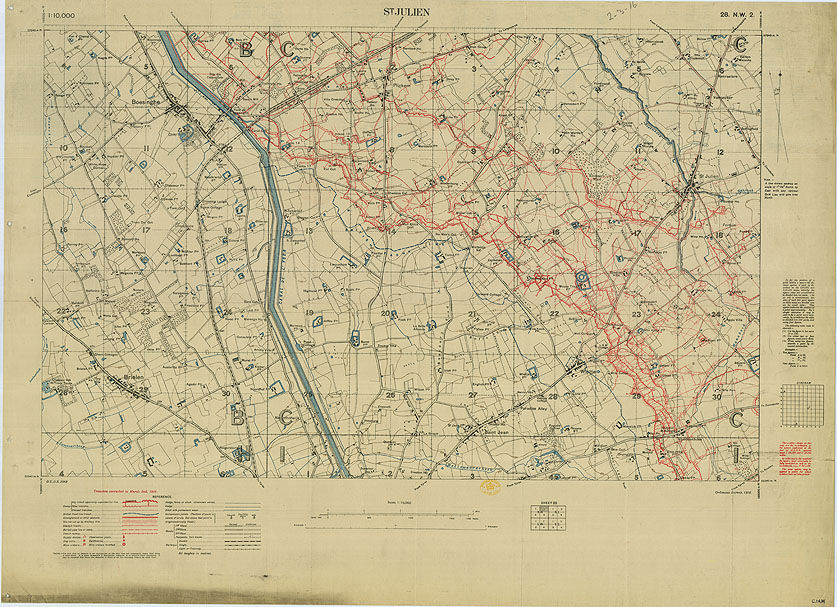 Trench Maps of the Battle Front in France and Belgium, St. Julien